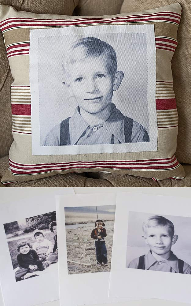DIY Gifts for Your Parents | Cool and Easy Homemade Gift Ideas That Mom and Dad Will Love | Creative Christmas Gifts for Parents With Step by Step Instructions | Crafts and DIY Projects by DIY JOY | Vintage-Photo-Pillow #diy #diygifts #christmasgifts
