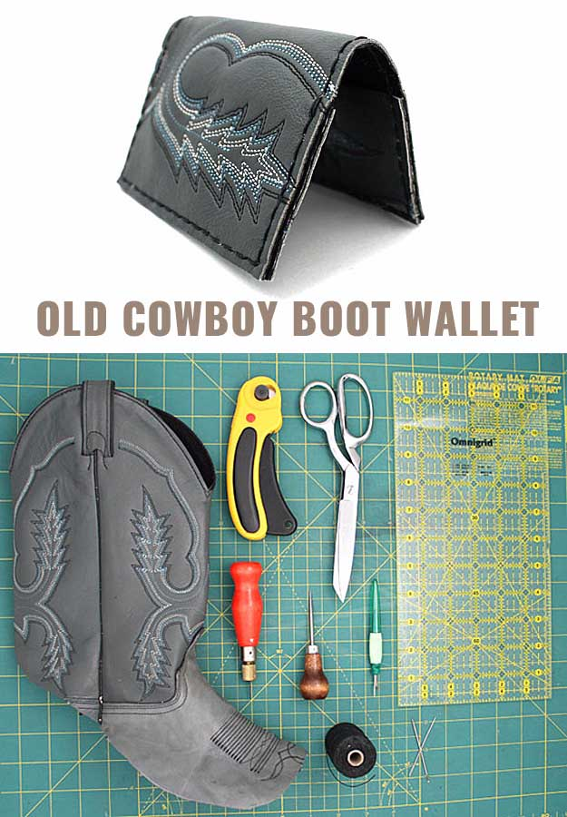 Awesome Crafts for Men and Manly DIY Project Ideas Guys Love - Fun Gifts, Manly Decor, Games and Gear. Tutorials for Creative Projects to Make This Weekend | Wallet Out Of An Old Cowboy Boot #diy #craftsformen #guys #giftsformen