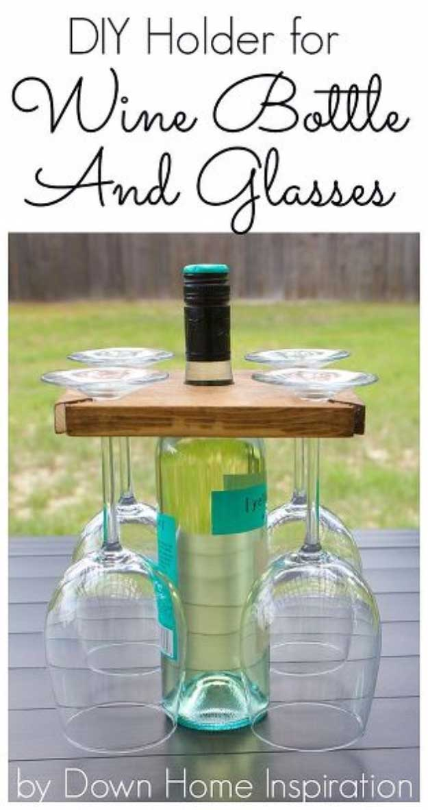 Awesome  Crafts for Men and Manly DIY Project Ideas Guys Love - Fun Gifts, Manly Decor, Games and Gear. Tutorials for Creative Projects to Make This Weekend | Wine Bottle and Glasses Carrier  |  http://diyjoy.com/diy-projects-for-men-crafts