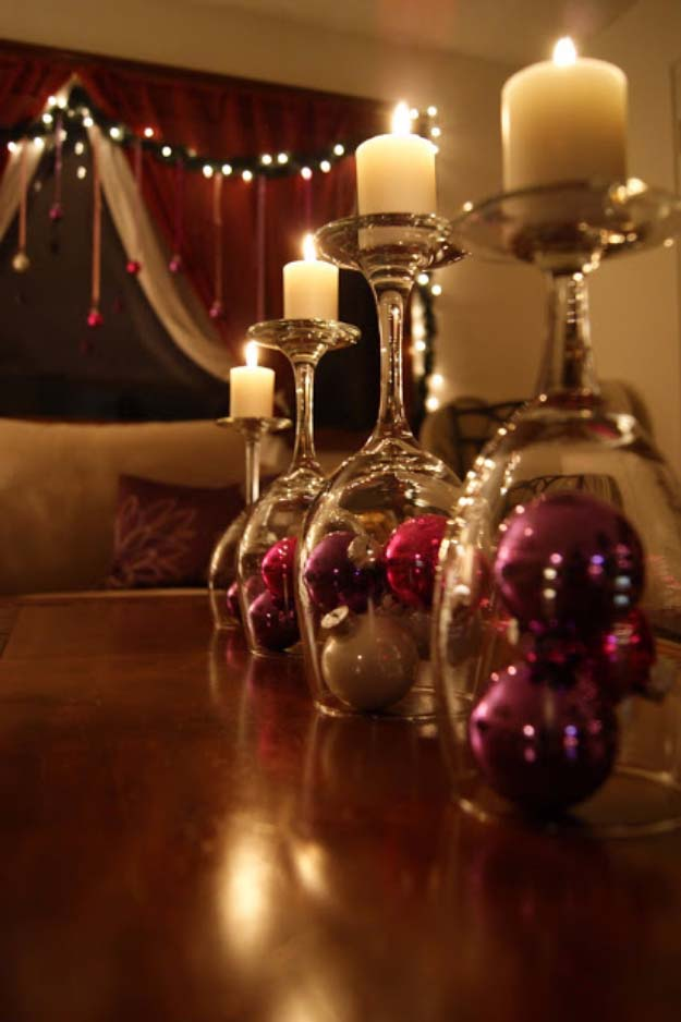 Awesome DIY Christmas Home Decorations and Homemade Holiday Decor Ideas - Quick and Easy Decorating ideas, cool ornaments, home decor crafts and fun Christmas stuff  | Crafts and DIY projects by DIY Joy  |  Wine Glass Christmas Ball Votives  |  http://diyjoy.com/diy-christmas-decor-holiday-decorations