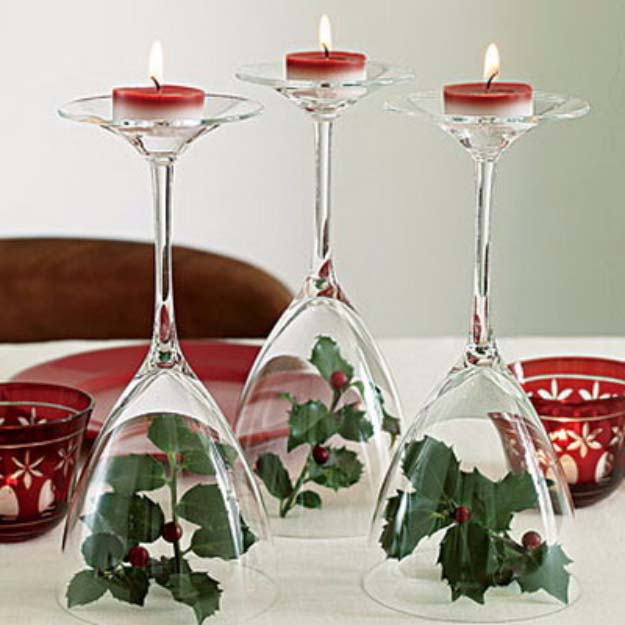 Awesome DIY Christmas Home Decorations and Homemade Holiday Decor Ideas - Quick and Easy Decorating ideas, cool ornaments, home decor crafts and fun Christmas stuff  | Crafts and DIY projects by DIY Joy  |  Wine Glass Holiday Votive Holders  |  http://diyjoy.com/diy-christmas-decor-holiday-decorations