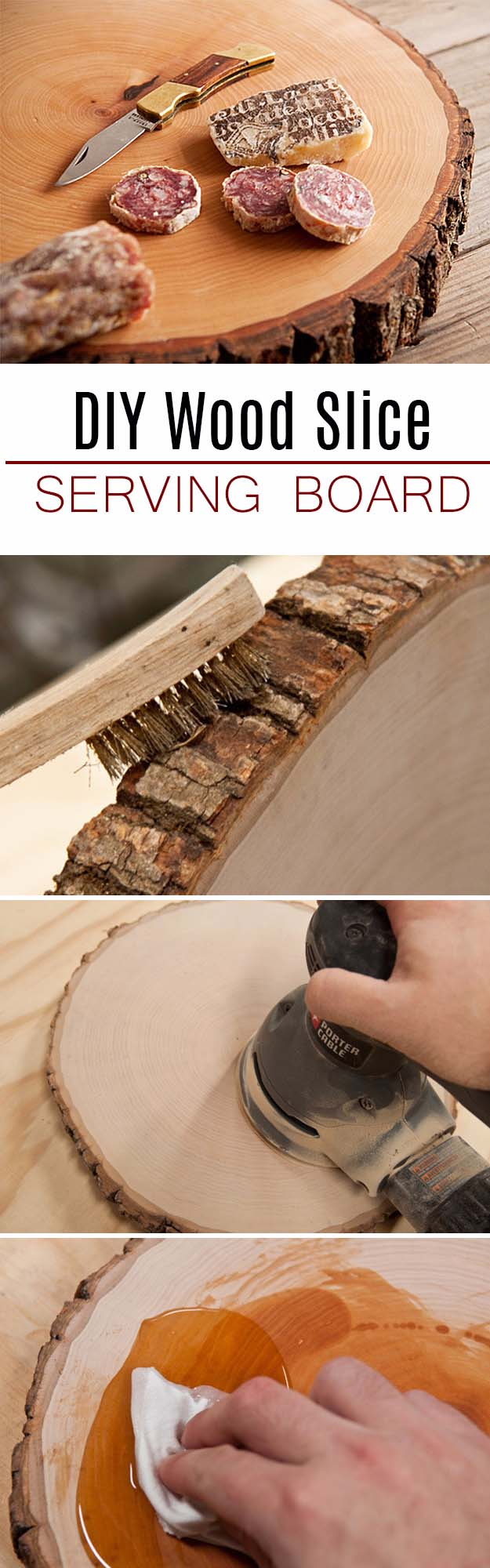 DIY Gifts For Men | Awesome Ideas for Your Boyfriend, Husband, Dad - Father , Brother and all the other important guys in your life. Cool Homemade DIY Crafts Men Will Truly Love to Receive for Christmas, Birthdays, Anniversaries and Valentine's Day | Wood Slice Serving Board for Him |
