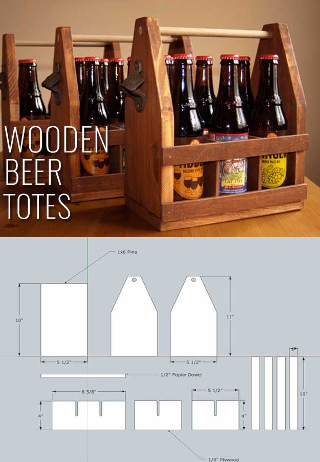 Awesome Crafts for Men and Manly DIY Project Ideas Guys Love - Fun Gifts, Manly Decor, Games and Gear. Tutorials for Creative Projects to Make This Weekend | Wooden Beer Totes #diy #craftsformen #guys #giftsformen