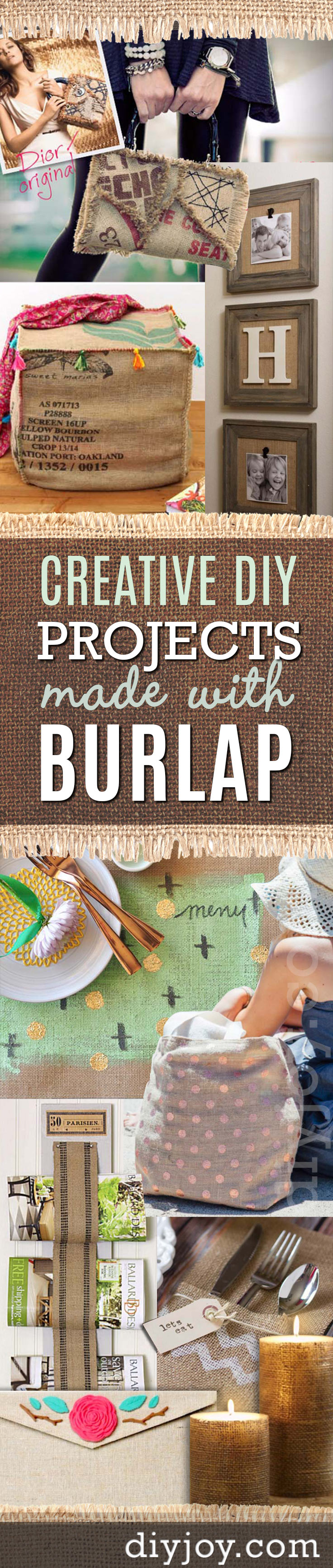 DIY Projects with Burlap and Creative Burlap Crafts for Home Decor, Gifts -christmas decor, rustic farmhouse and room decorating ideas