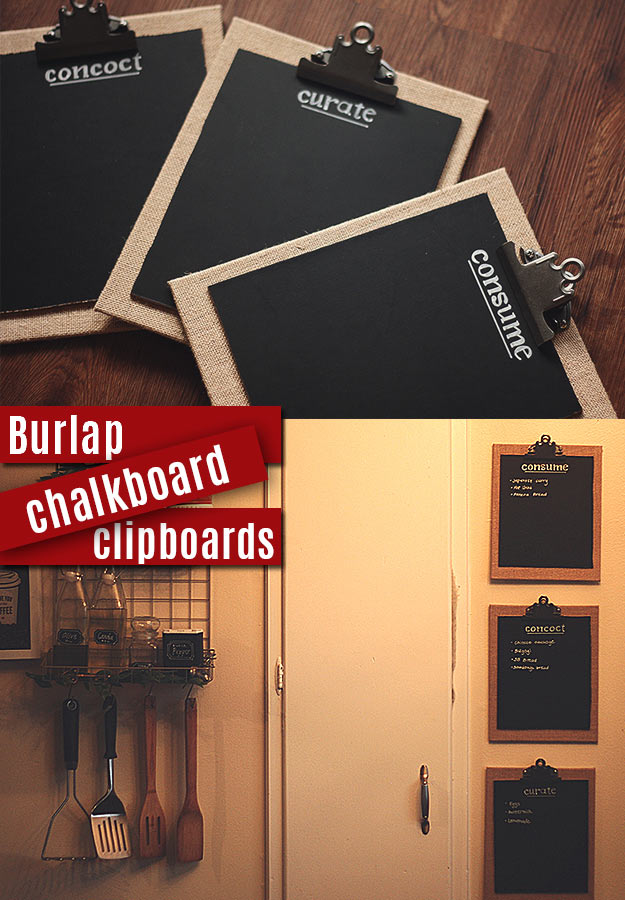 DIY Projects with Burlap and Creative Burlap Crafts for Home Decor, Gifts and More | Burlap Chalkboard Clipboards