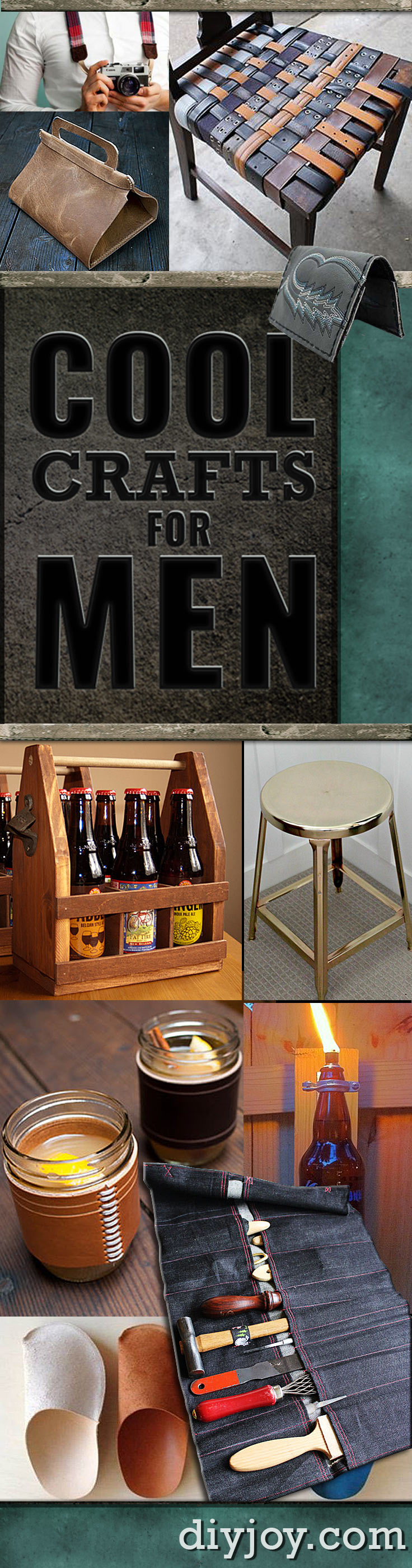 Awesome Crafts for Men and Manly DIY Project Ideas Guys Love - Cool Fathers Day Gifts and Ideas for Dad - Fun Man Cave Ideas, Homemade Gifts, Manly Decor, Games and Gear. Tutorials for Creative Projects to Make This Weekend | Super DIY Gift Ideas for the Boyfriend, Husband, Brother and Father - Dad http://diyjoy.com/diy-projects-for-men-crafts