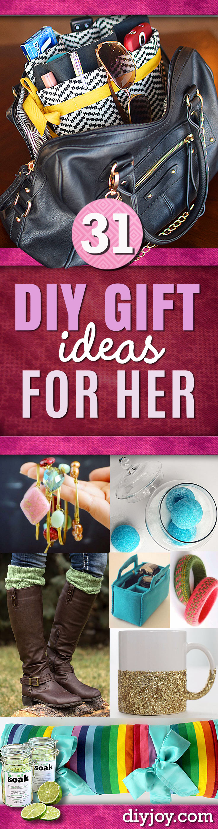 DIY Gifts for Her - Perfect Homemade Gift Ideas for Girlfriend Mom, Sister, Aunt, Wife, BFF. Easy Inexpensive and Cool Crafts You Can Make To Give For Christmas, Birthday Gift, Anniversary