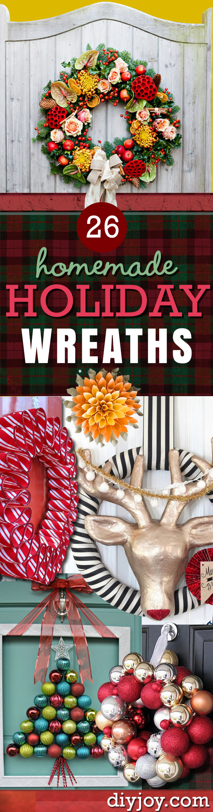 DIY Holiday Wreath Pinterest - Easy DIY Holiday Decor Ideas - Homemade Christmas Decorations for the Holidays - DIY Christmas Crafts and Projects at DIY JOY