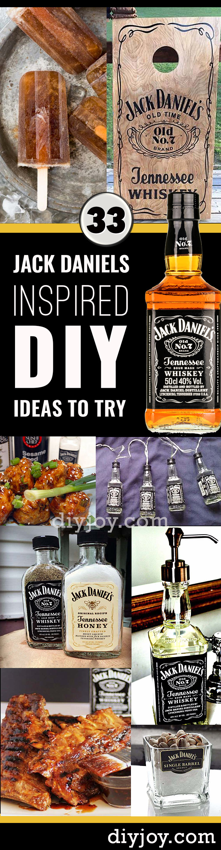 Fun DIY Ideas Made With Jack Daniels - Recipes, Projects and Crafts With The Bottle, Everything From Lamps and Decorations to Fudge and Cupcakes | #diy #crafts #jackdaniels