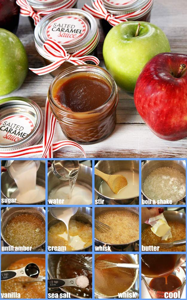 Homemade DIY Gifts in A Jar | Best Mason Jar Cookie Mixes and Recipes, Alcohol Mixers | Fun Gift Ideas for Men, Women, Teens, Kids, Teacher, Mom. Christmas, Holiday, Birthday and Easy Last Minute Gifts | Salted Caramel Sauce in a Jar | http://diyjoy.com/diy-gifts-in-a-jar