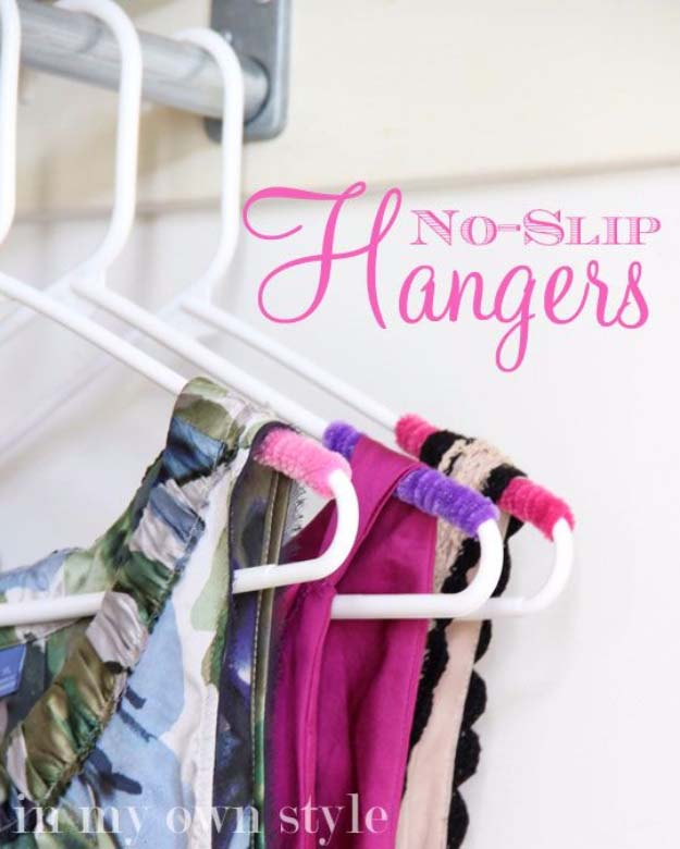 DIY Closet Organization Ideas for Messy Closets and Small Spaces. Organizing Hacks and Homemade Shelving And Storage Tips for Garage, Pantry, Bedroom., Clothes and Kitchen | Clothes Closet Organizing No Slip Hangers #organizing #closets #organizingideas