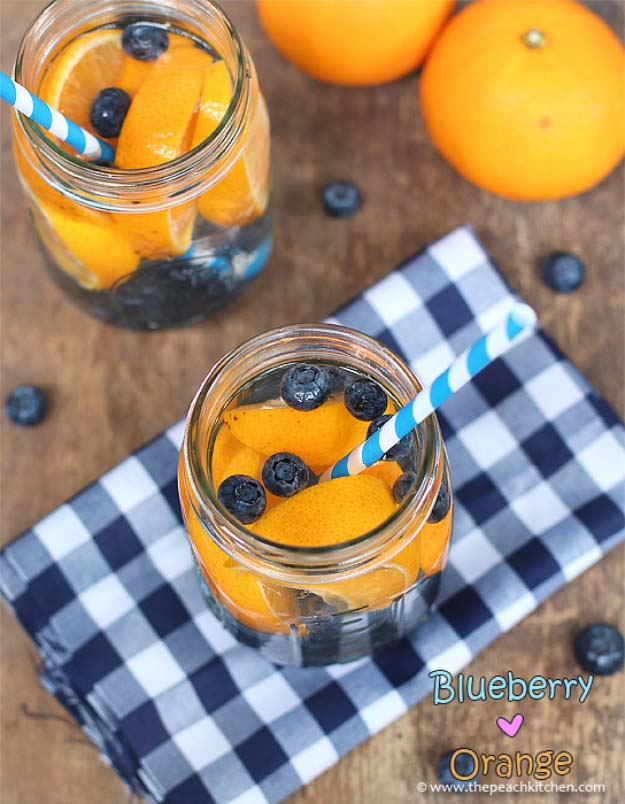 31 Detox Water Recipes for Drinks To Cleanse Skin and Body. Easy to Make Waters and Tea Promote Health, Diet and Support Weightloss | Blueberry and Orange Detox Water - Drink Recipe #detox #recipes #detoxwater #healthy