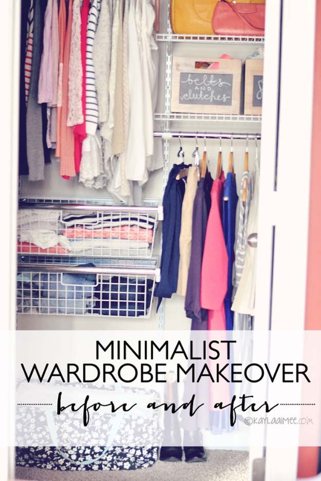 DIY Closet Organization Ideas for Messy Closets and Small Spaces. Organizing Hacks and Homemade Shelving And Storage Tips for Garage, Pantry, Bedroom., Clothes and Kitchen | Minimalist Wardrobe Makeover Closet Before & After #organizing #closets #organizingideas
