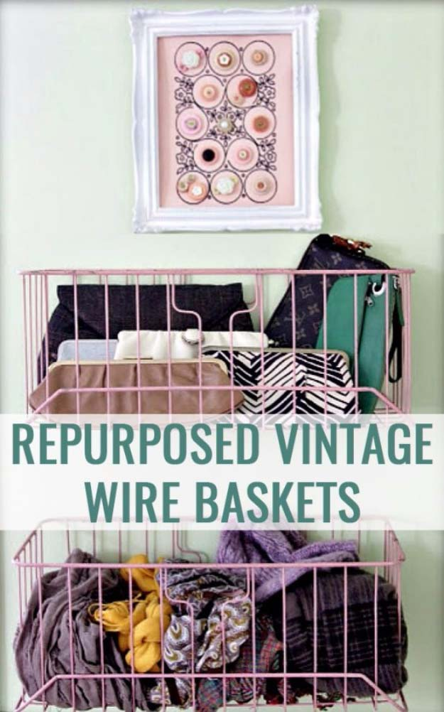 DIY Closet Organization Ideas for Messy Closets and Small Spaces. Organizing Hacks and Homemade Shelving And Storage Tips for Garage, Pantry, Bedroom., Clothes and Kitchen | Repurposed Vintage Wire Baskets #organizing #closets #organizingideas