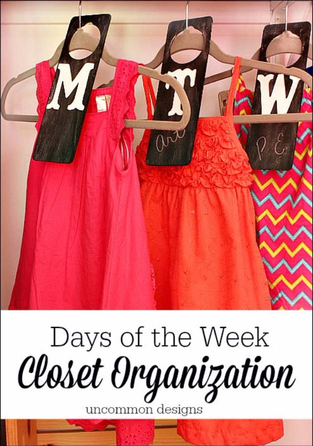 DIY Closet Organization Ideas for Messy Closets and Small Spaces. Organizing Hacks and Homemade Shelving And Storage Tips for Garage, Pantry, Bedroom., Clothes and Kitchen | Days of the Week Closet Organizers #organizing #closets #organizingideas