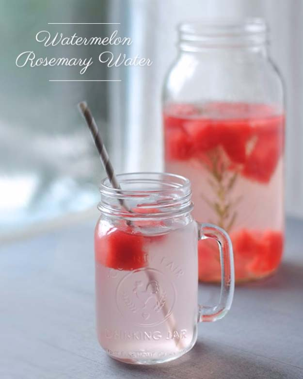 31 Detox Water Recipes for Drinks To Cleanse Skin and Body. Easy to Make Waters and Tea Promote Health, Diet and Support Weight loss | Watermelon Rosemary Detox Water Recipe - Drink Recipe #detox #recipes #detoxwater #healthy