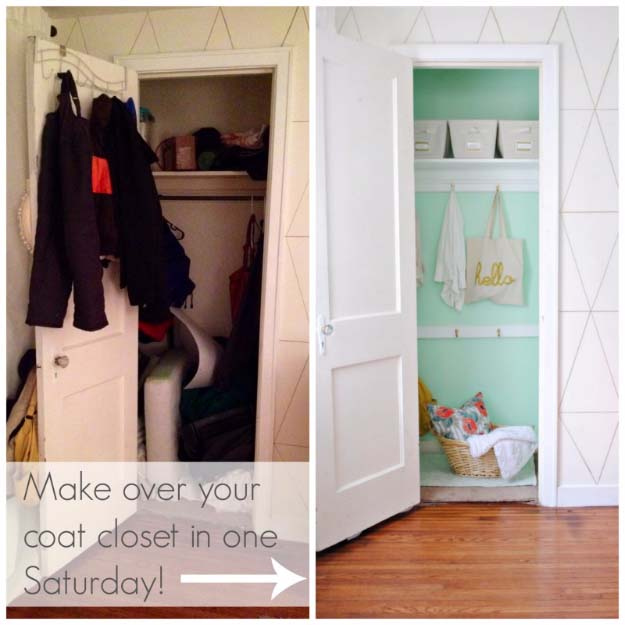 DIY Closet Organization Ideas for Messy Closets and Small Spaces. Organizing Hacks and Homemade Shelving And Storage Tips for Garage, Pantry, Bedroom., Clothes and Kitchen | DIY Coat Closet Makeover #organizing #closets #organizingideas