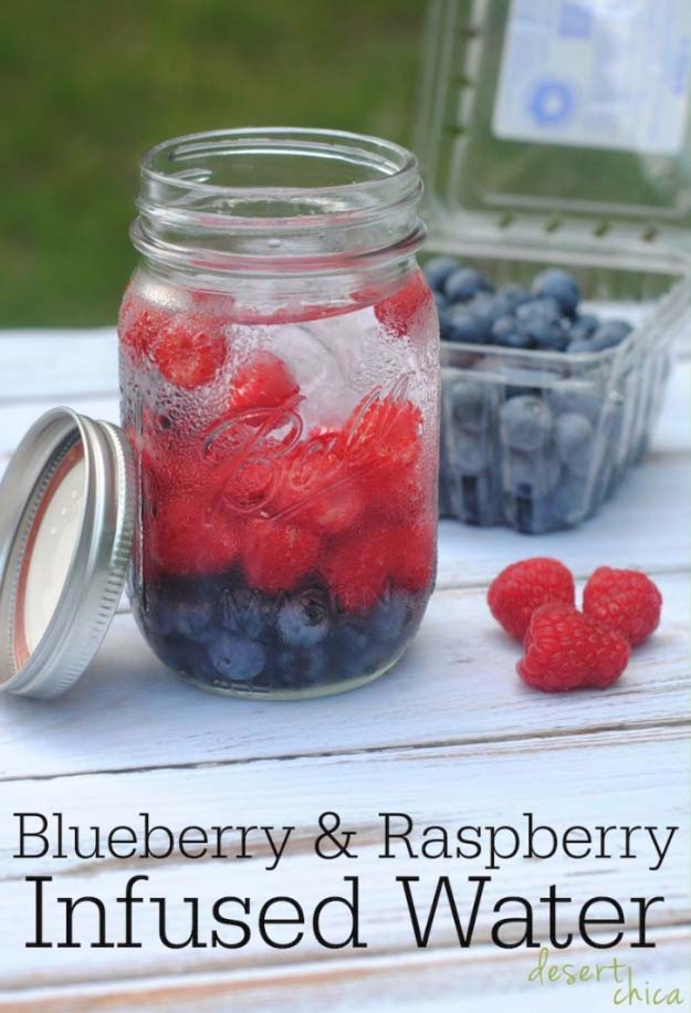 31 Detox Water Recipes for Drinks To Cleanse Skin and Body. Easy to Make Waters and Tea Promote Health, Diet and Support Weight loss | BLUEBERRY AND RASPBERRY INFUSED DETOX WATER RECIPE Recipe #detox #recipes #detoxwater #healthy