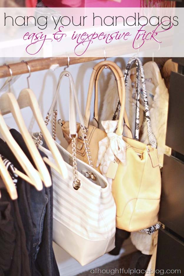 DIY Closet Organization Ideas for Messy Closets and Small Spaces. Organizing Hacks and Homemade Shelving And Storage Tips for Garage, Pantry, Bedroom., Clothes and Kitchen | Closet Organization How to Hang Handbags #organizing #closets #organizingideas