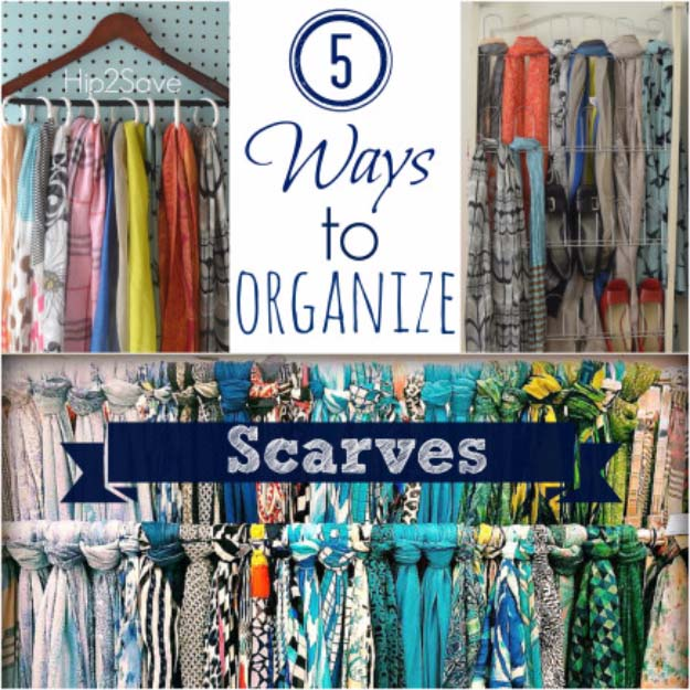 DIY Closet Organization Ideas for Messy Closets and Small Spaces. Organizing Hacks and Homemade Shelving And Storage Tips for Garage, Pantry, Bedroom., Clothes and Kitchen | 5 Ways to Organize Scarves #organizing #closets #organizingideas