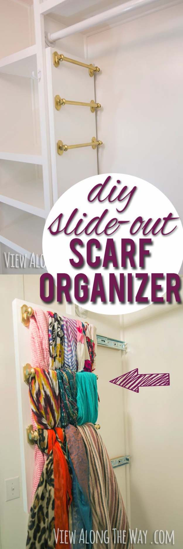 DIY Closet Organization Ideas for Messy Closets and Small Spaces. Organizing Hacks and Homemade Shelving And Storage Tips for Garage, Pantry, Bedroom., Clothes and Kitchen | DIY slide-out scarf and belt organizers #organizing #closets #organizingideas
