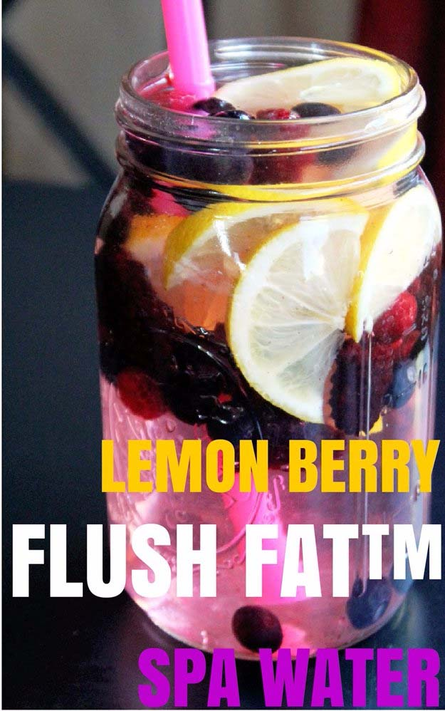 31 Detox Water Recipes for Drinks To Cleanse Skin and Body. Easy to Make Waters and Tea Promote Health, Diet and Support Weight loss- Lemon Berry Flush Fat Spa Water #detox #recipes #detoxwater #healthy