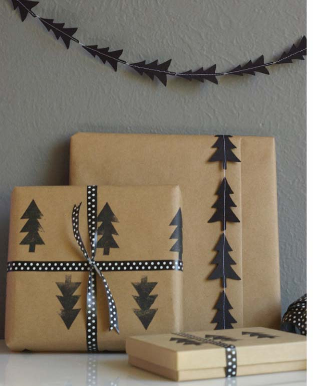 DIY Gift Wrapping Ideas - How To Wrap A Present - Tutorials, Cool Ideas and Instructions | Cute Gift Wrap Ideas for Christmas, Birthdays and Holidays | Tips for Bows and Creative Wrapping Papers | Black Tree Garland and Stamped Wrapping Paper #gifts #diys
