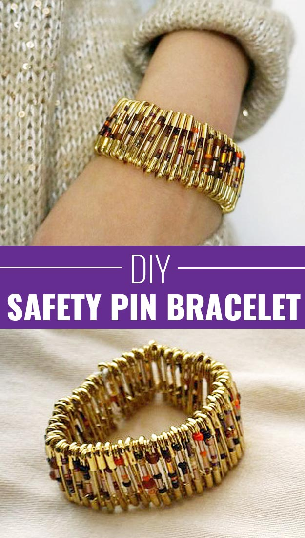 DIY Craft Ideas that Make the Best DIY Stocking Stuffers | Cute DIY Gifts for Christmas | DIY Fashion Ideas for Teens | Homemade Safety Pin Bracelet