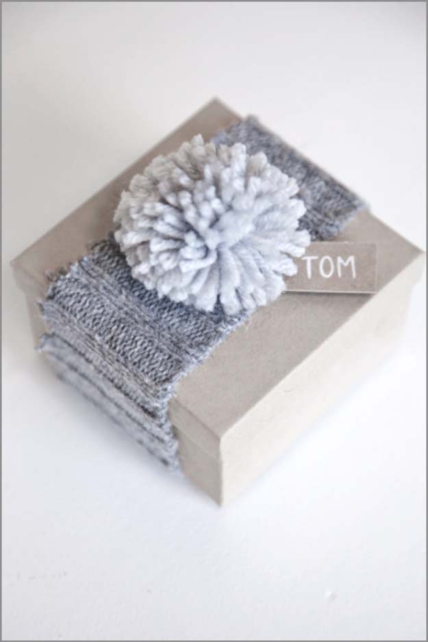 DIY Gift Wrapping Ideas - How To Wrap A Present - Tutorials, Cool Ideas and Instructions | Cute Gift Wrap Ideas for Christmas, Birthdays and Holidays | Tips for Bows and Creative Wrapping Papers | Cozy Christmas Gift Wrap from an Old Sweater #gifts #diys