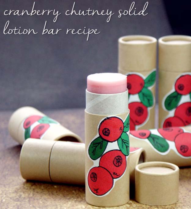 Fun Homemade Gifts for Friends | Cute DIY Stocking Stuffers for Christmas | Easy DIY Crafts Ideas | Cranberry Chutney Homemade Solid Lotion Bar Recipe #diy #diychristmas