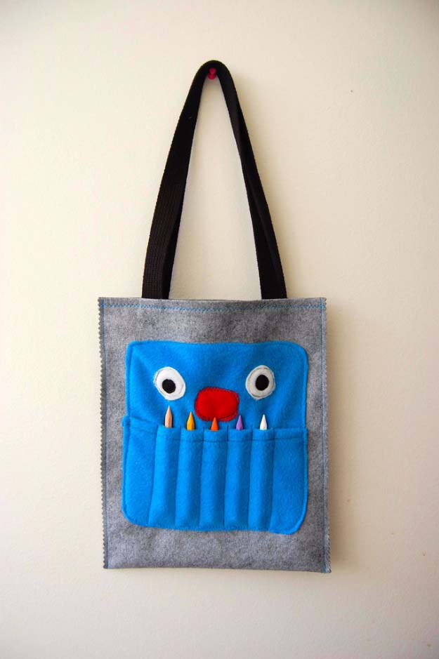 DIY Christmas Gifts for Kids - Homemade Christmas Presents for Children and Christmas Crafts for Kids | Toys, Dress Up Clothes, Dolls and Fun Games | Step by Step tutorials and instructions for cool gifts to make for boys and girls | Crayon Monster Art Tote
