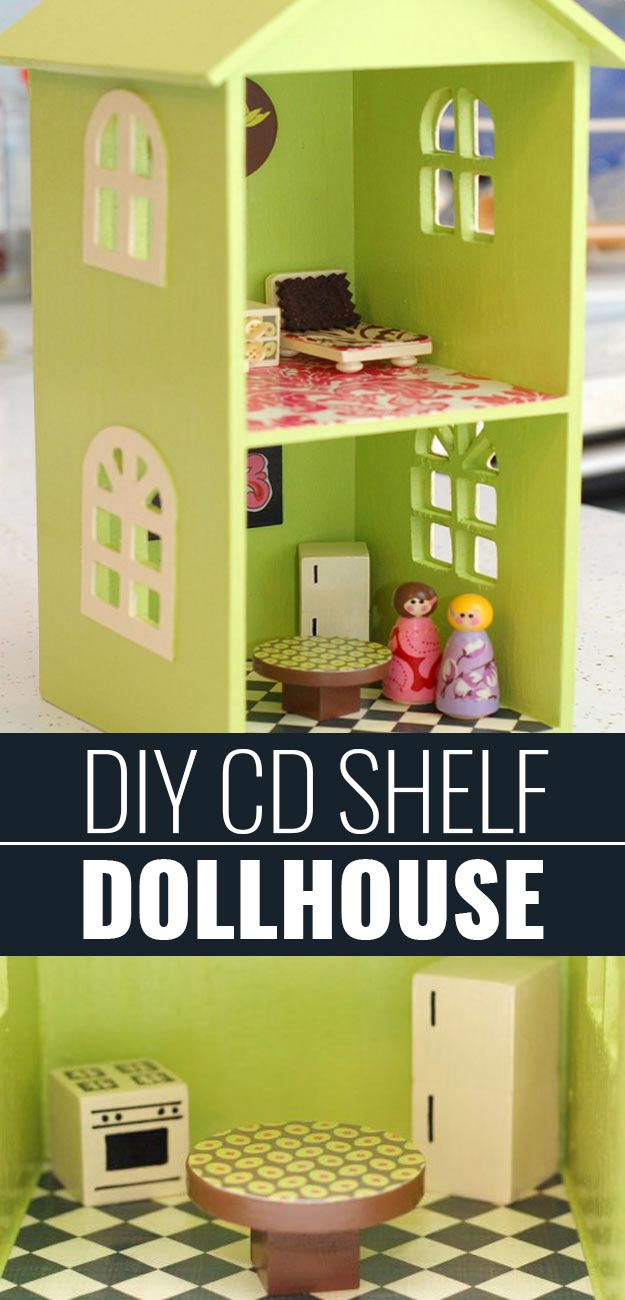 DIY Christmas Gifts for Kids - Homemade Christmas Presents for Children and Christmas Crafts for Kids | Toys, Dress Up Clothes, Dolls and Fun Games | Step by Step tutorials and instructions for cool gifts to make for boys and girls | CD Shelf Doll House