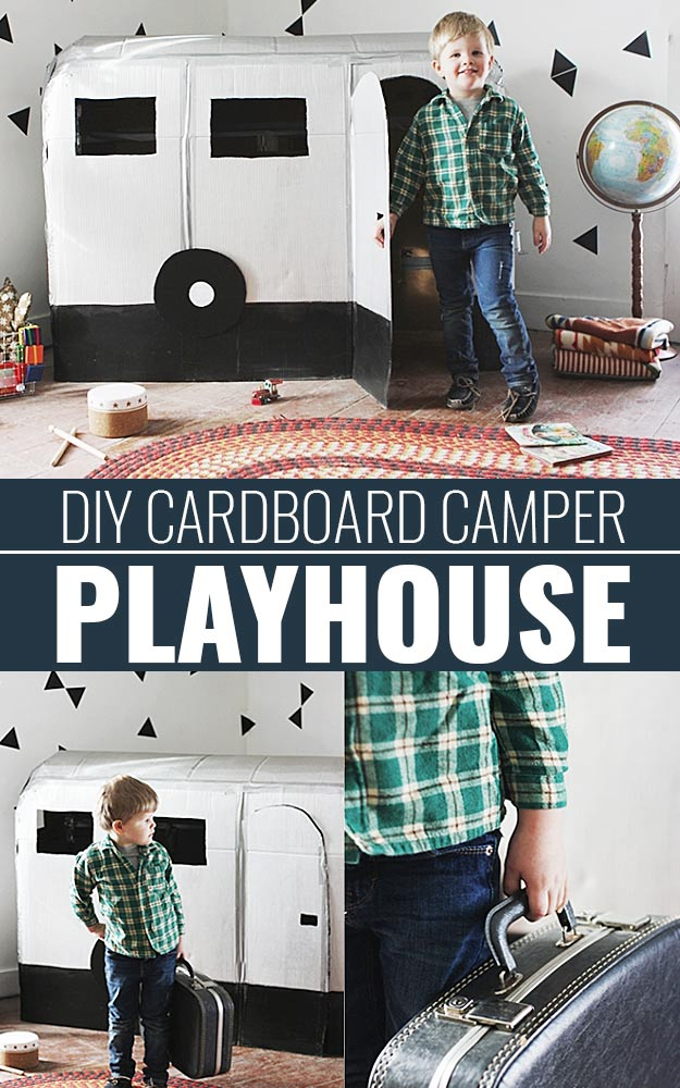 DIY Christmas Gifts for Kids - Homemade Christmas Presents for Children and Christmas Crafts for Kids   Toys, Dress Up Clothes, Dolls and Fun Games   Step by Step tutorials and instructions for cool gifts to make for boys and girls   DIY-Cardboard-Camper-Playhouse