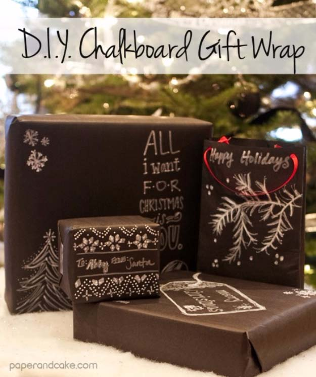 DIY Gift Wrapping Ideas - How To Wrap A Present - Tutorials, Cool Ideas and Instructions | Cute Gift Wrap Ideas for Christmas, Birthdays and Holidays | Tips for Bows and Creative Wrapping Papers | DIY Chalkboard Gift Wrap #gifts #diys