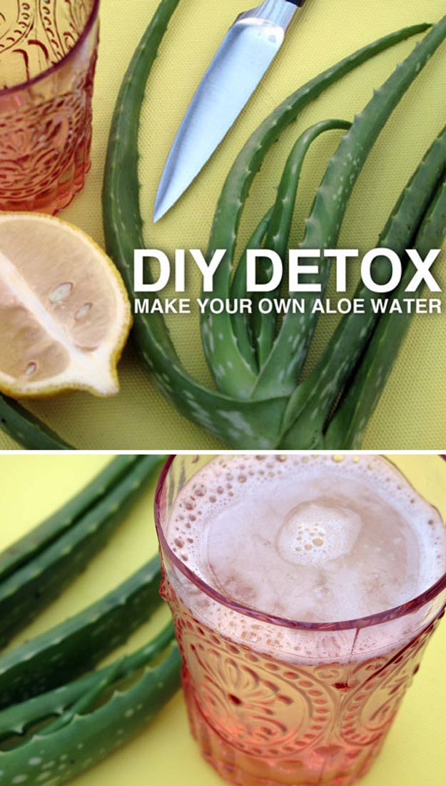 31 Detox Water Recipes for Drinks To Cleanse Skin and Body. Easy to Make Waters and Tea Promote Health, Diet and Support Weight loss | DIY Detox Aloe Water Recipe - Drink Recipe #detox #recipes #detoxwater #healthy
