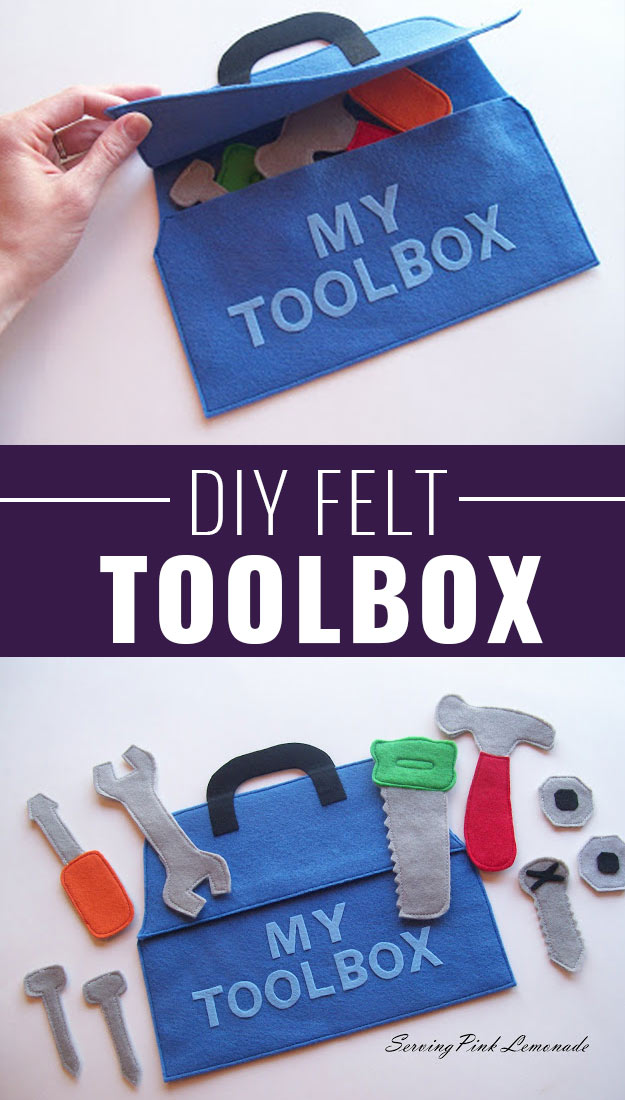 DIY Christmas Gifts for Kids - Homemade Christmas Presents for Children and Christmas Crafts for Kids   Toys, Dress Up Clothes, Dolls and Fun Games   Step by Step tutorials and instructions for cool gifts to make for boys and girls   DIY-Felt-Tool-Box