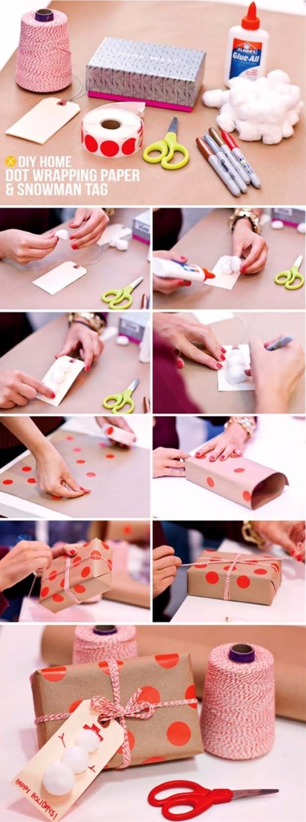 DIY Gift Wrapping Ideas - How To Wrap A Present - Tutorials, Cool Ideas and Instructions | Cute Gift Wrap Ideas for Christmas, Birthdays and Holidays | Tips for Bows and Creative Wrapping Papers | DIY Home Dot Wrapping Paper and Snowman Tag #gifts #diys