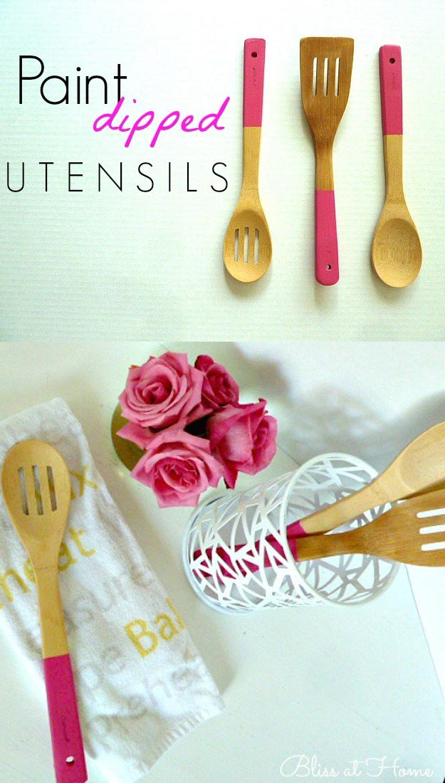 Fun Homemade Gifts for Friends | Cute DIY Stocking Stuffers for Christmas | Easy DIY Crafts Ideas | DIY Paint Dipped Utensils #diy #diychristmas