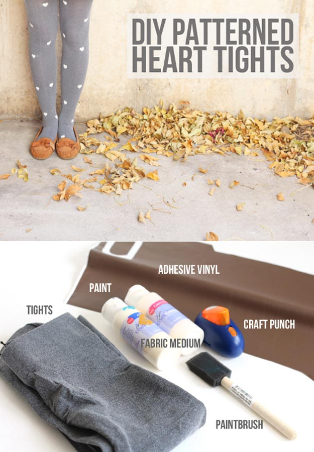 Fun Homemade Gifts for Friends | Cute DIY Stocking Stuffers for Christmas | Easy DIY Crafts Ideas | DIY Patterned Heart Tights #diy #diychristmas