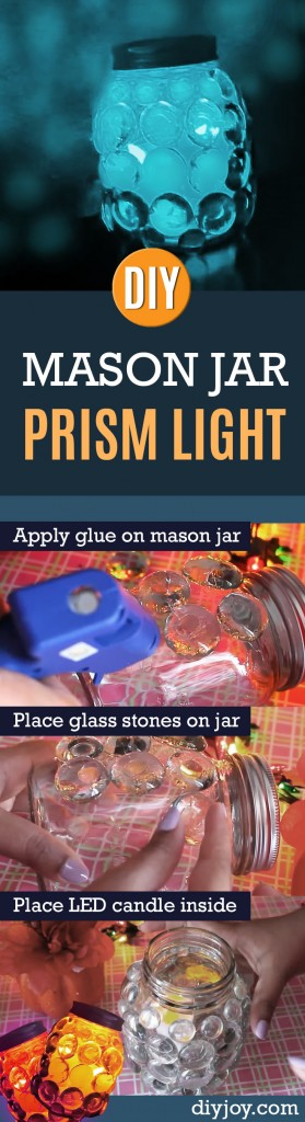 DIY Mason Jar Prism Light | Cool and Easy DIY Decor Ideas on A Budget - Easy Crafts to Make and Sell for Profit at Craft Fairs