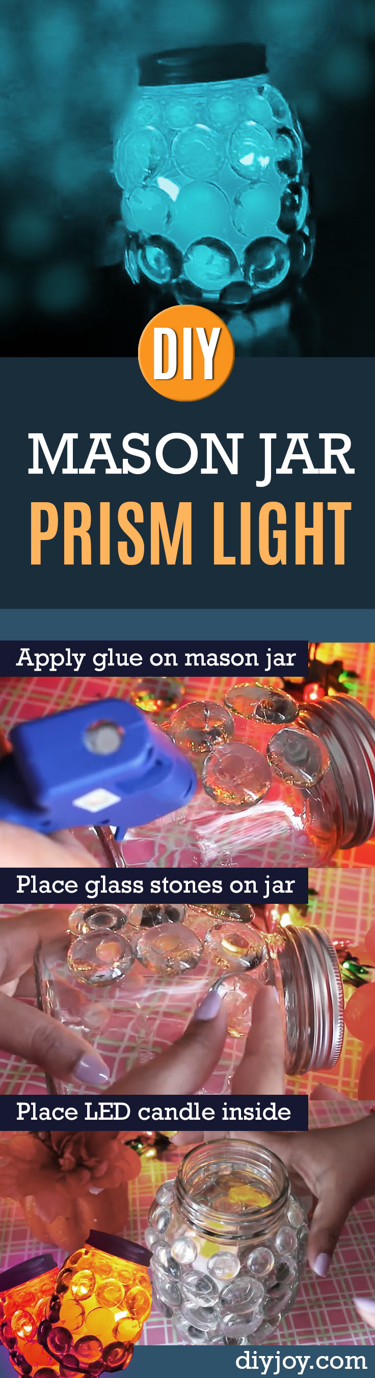 DIY Mason Jar Prism Light | Cool and Easy DIY Decor Ideas on A Budget http://diyjoy.com/mason-jar-crafts-prism-light