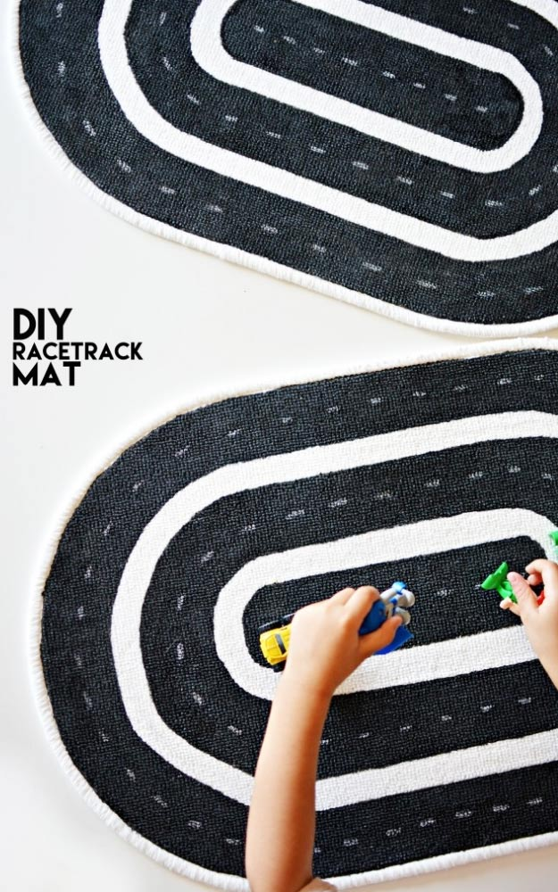 DIY Christmas Gifts for Kids - Homemade Christmas Presents for Children and Christmas Crafts for Kids   Toys, Dress Up Clothes, Dolls and Fun Games   Step by Step tutorials and instructions for cool gifts to make for boys and girls   DIY-Race-Track-Mat-for-Kids