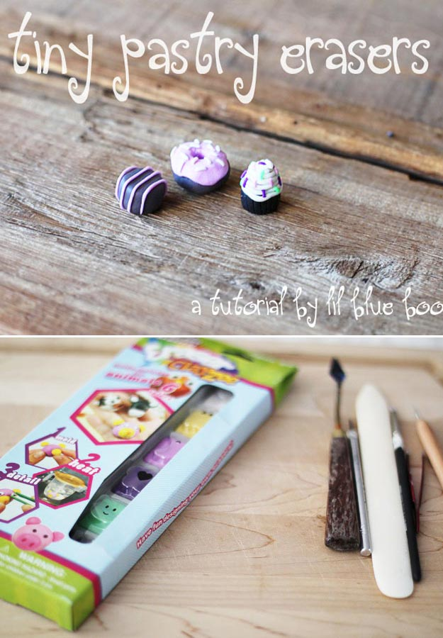 Fun Homemade Gifts for Friends | Cute DIY Stocking Stuffers for Christmas | Easy DIY Crafts Ideas | DIY Tiny Pastry Erasers #diy #diychristmas