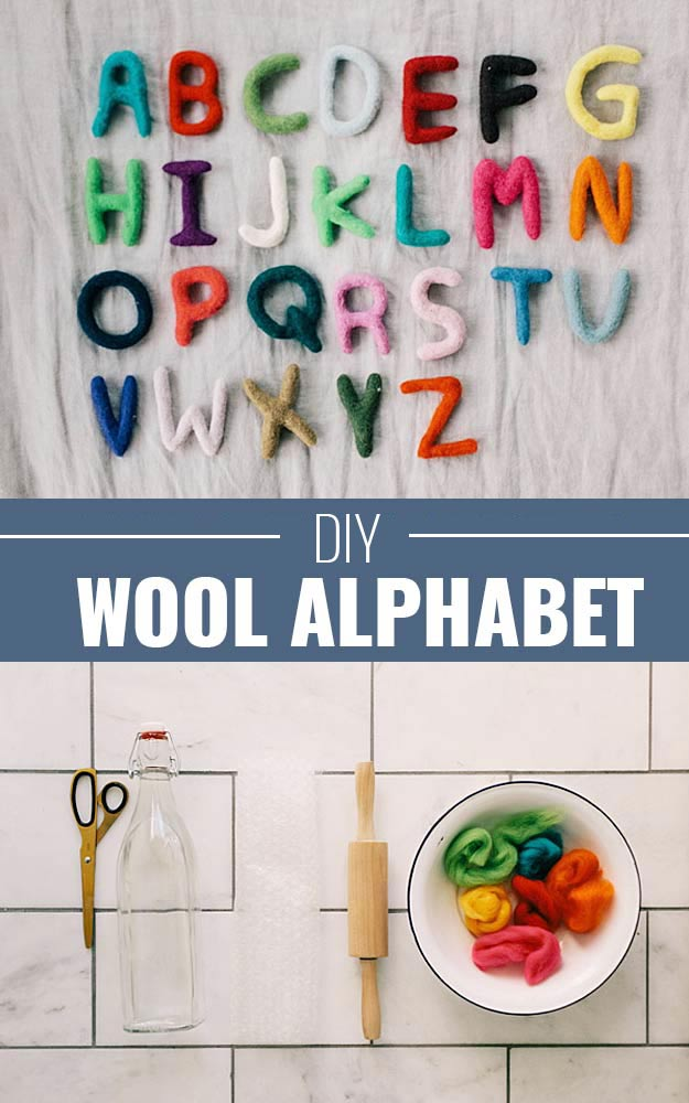 DIY Christmas Gifts for Kids - Homemade Christmas Presents for Children and Christmas Crafts for Kids | Toys, Dress Up Clothes, Dolls and Fun Games | Step by Step tutorials and instructions for cool gifts to make for boys and girls | DIY-Wool-Alphabet