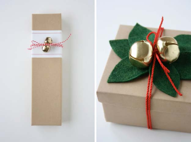 DIY Gift Wrapping Ideas - How To Wrap A Present - Tutorials, Cool Ideas and Instructions | Cute Gift Wrap Ideas for Christmas, Birthdays and Holidays | Tips for Bows and Creative Wrapping Papers | Felt Mistletoe and Jingle Bells #gifts #diys