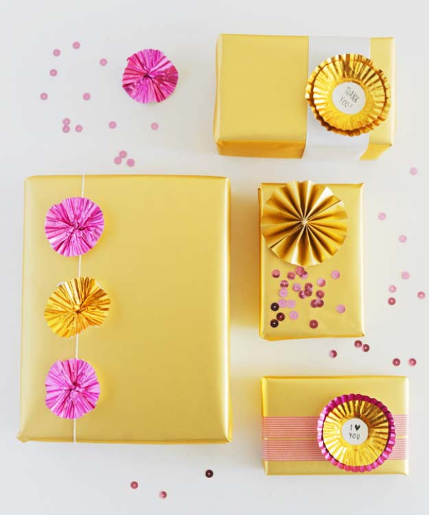 DIY Gift Wrapping Ideas - How To Wrap A Present - Tutorials, Cool Ideas and Instructions | Cute Gift Wrap Ideas for Christmas, Birthdays and Holidays | Tips for Bows and Creative Wrapping Papers | Foil Cup Cake Liner Toppers #gifts #diys