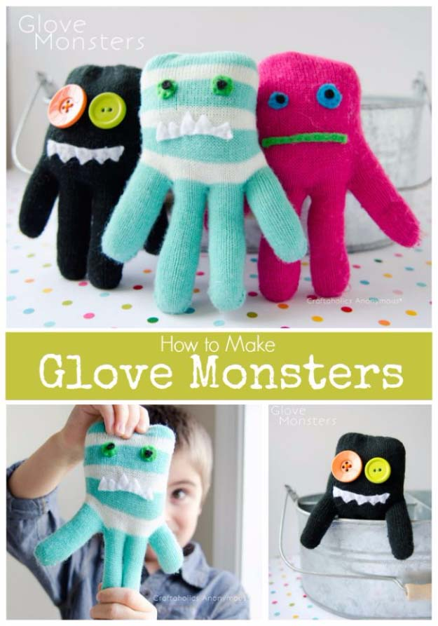 DIY Christmas Gifts for Kids - Homemade Christmas Presents for Children and Christmas Crafts for Kids   Toys, Dress Up Clothes, Dolls and Fun Games   Step by Step tutorials and instructions for cool gifts to make for boys and girls   Glove Monsters