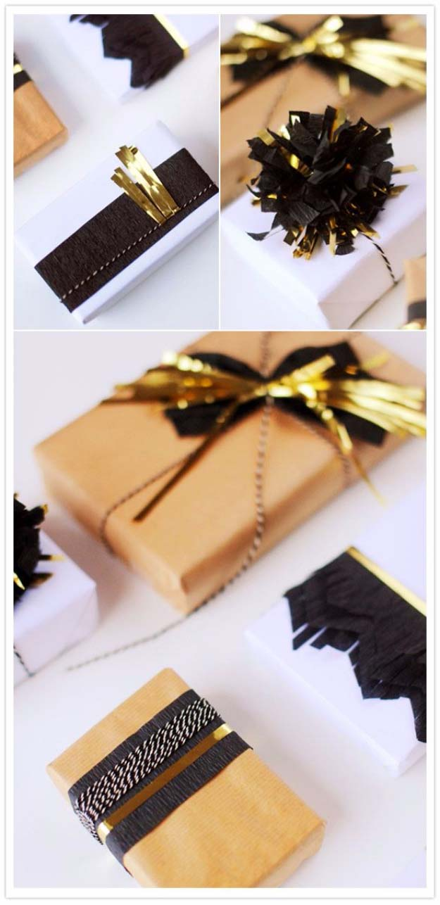 DIY Gift Wrapping Ideas - How To Wrap A Present - Tutorials, Cool Ideas and Instructions | Cute Gift Wrap Ideas for Christmas, Birthdays and Holidays | Tips for Bows and Creative Wrapping Papers | Gold Accented Holiday Gift Wrap #gifts #diys
