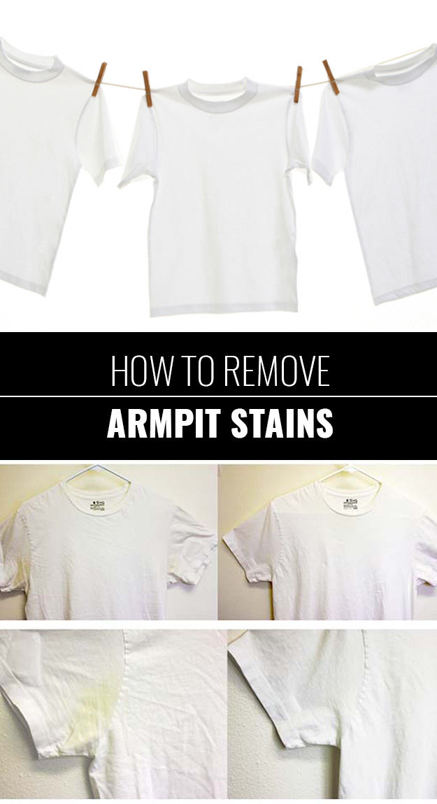 31 diy hacks for fixing ruined clothes diy joy for Removing armpit stains from colored shirts