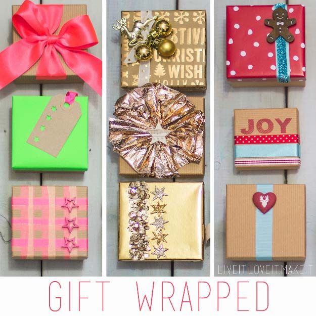 DIY Gift Wrapping Ideas - How To Wrap A Present - Tutorials, Cool Ideas and Instructions | Cute Gift Wrap Ideas for Christmas, Birthdays and Holidays | Tips for Bows and Creative Wrapping Papers | Holiday Gift Wrapped 3 Ways #gifts #diys